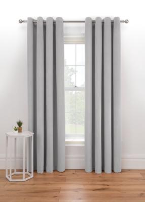 Grey Matt Velvet Lined Eyelet Curtains Home George At Asda