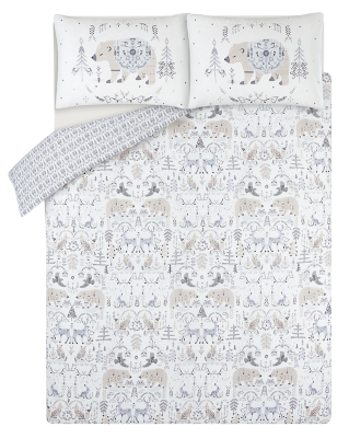 White Celestial Bear Easy Care Duvet Set