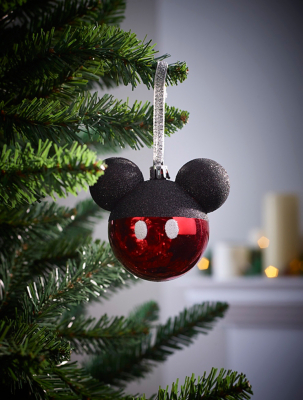 Disney Mickey Mouse Glitter Christmas Tree Bauble