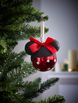 Disney Minnie Mouse Glitter Christmas Tree Bauble