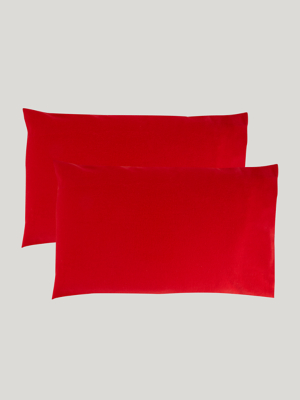 Red Soft & Cosy Brushed Cotton Pillowcase Pair