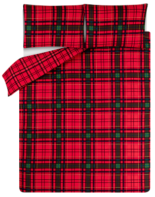 Red Tartan Soft & Cosy Brushed Cotton Duvet Set
