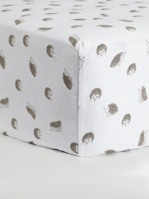 White Hedgehogs Soft & Cosy Brushed Cotton Fitted Sheet