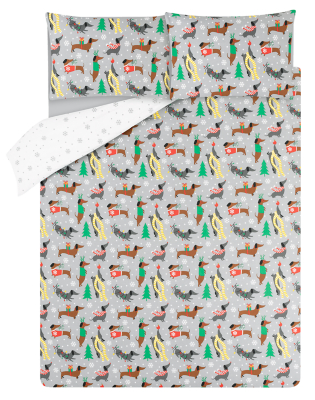 Grey Christmas Sausage Dog Easy Care Duvet Set