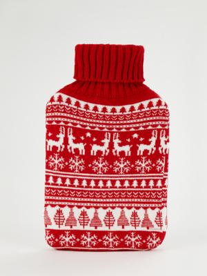 Red Scandi Hot Water Bottle