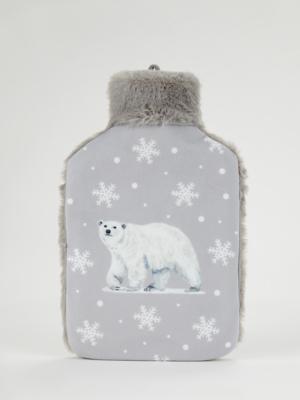 Grey Polar Bear Hot Water Bottle
