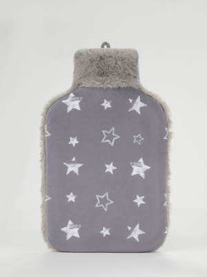 Grey Stars Hot Water Bottle