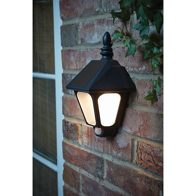 Black Solar Motion Sensor Traditional Wall Light