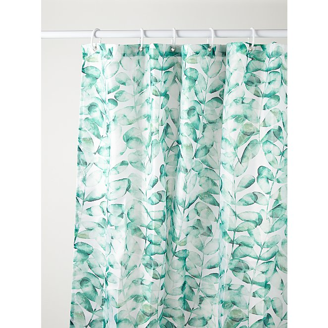 White Leaf Print Fabric Shower Curtain, Green And White Shower Curtain