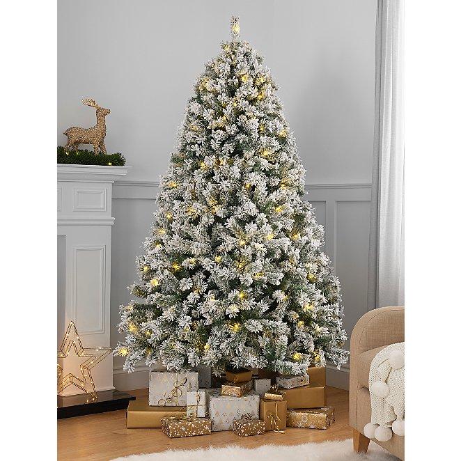 7ft Snowy Pre Lit Christmas Tree Christmas George At Asda