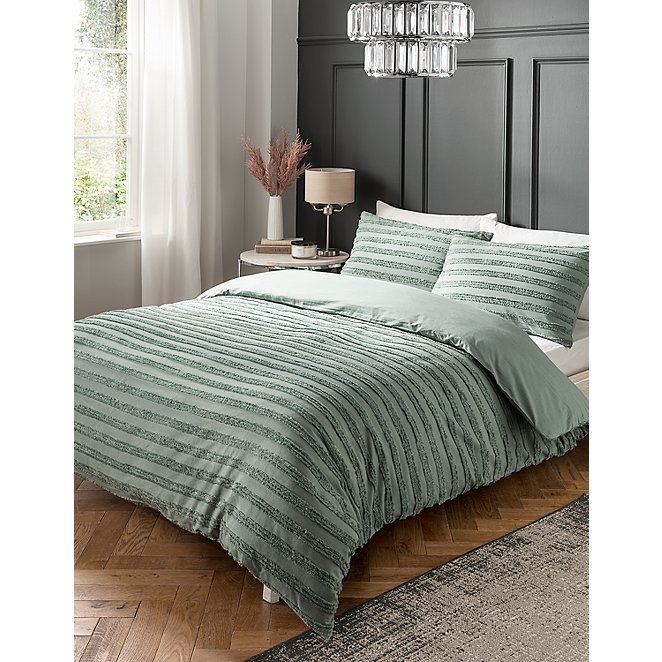 Green Luxury Tufted 100 Cotton Duvet, Sage Green And Gray Bedding