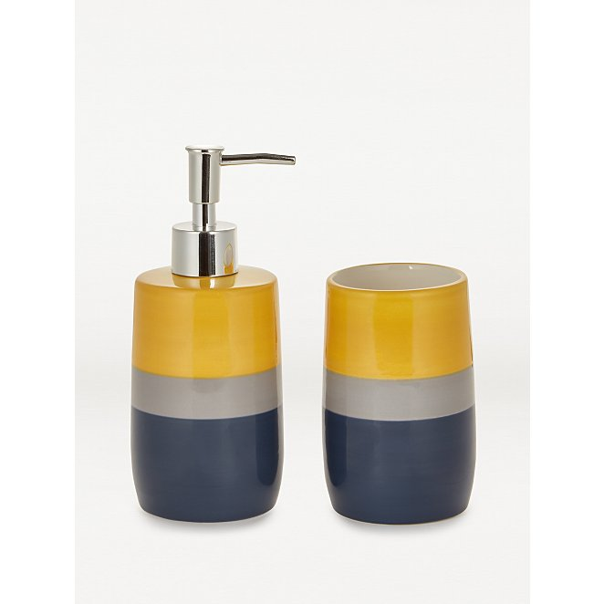 Multi Colour Block Ceramic Dispenser And Tumbler Set Home George At Asda