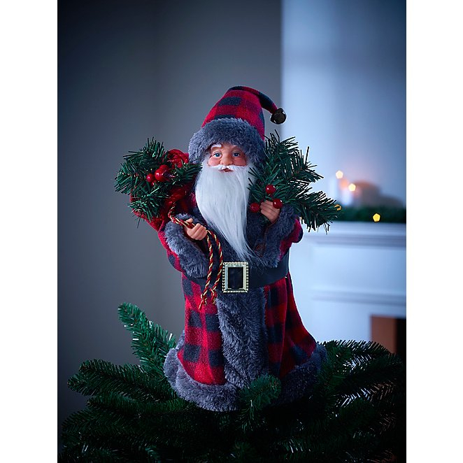 Tartan Santa Tree Topper Christmas George At Asda
