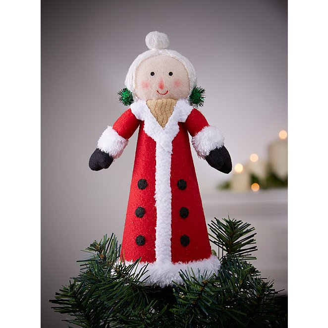 Red Mrs Claus Fabric Tree Topper Christmas George At Asda