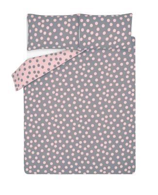 Pink Brushed Cotton Spot Print Reversible Duvet Set