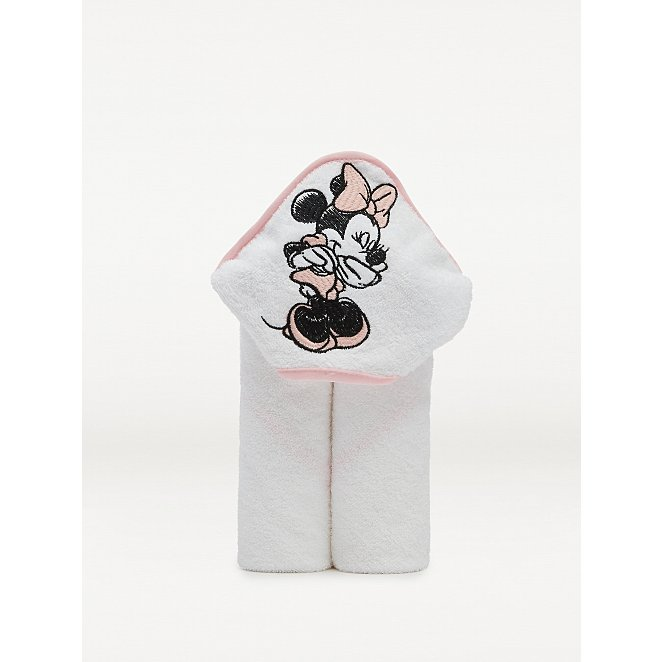 White Disney Minnie Mouse Hooded Towel Baby George At Asda