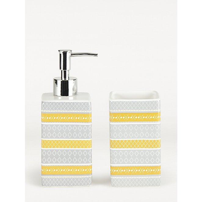 Grey Geometric Dispenser And Tumbler, Grey Yellow Bathroom Accessories