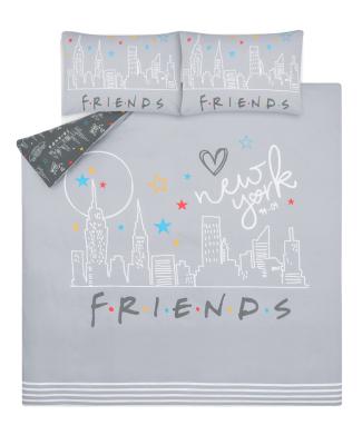 Grey Friends Skyline Panel Reversible Duvet Set