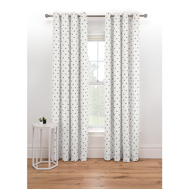 Polka Dot Print Lined Eyelet Curtains, Lined White Curtains