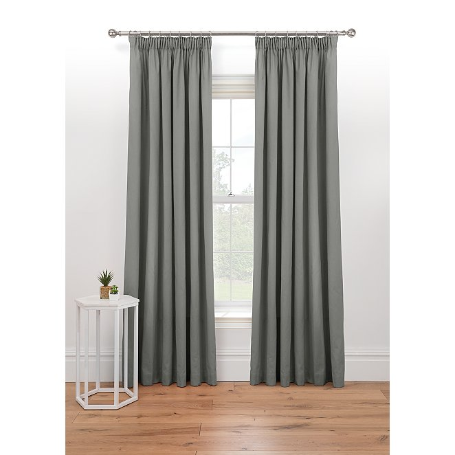 Grey Lined Pencil Pleat Curtains Home George At Asda
