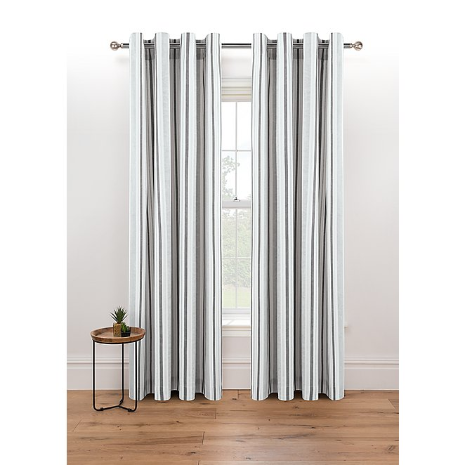 Grey Striped Eyelet Curtains Home, Grey Striped Curtains