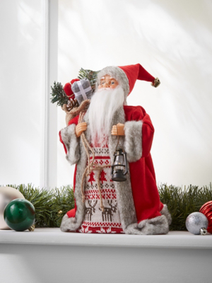 Red Standing Santa Christmas Tree Topper Decoration