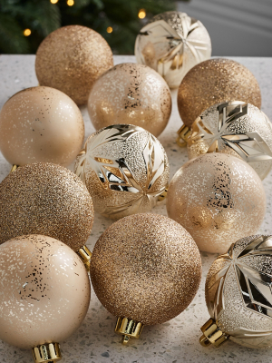 Gold-Tone Mixed Size Baubles - Pack of 12