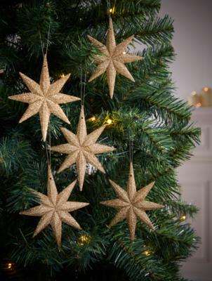 Gold Glitter Bethlehem Star Baubles 5-Pack