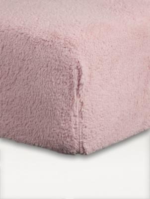 Pink Teddy Fleece Fitted Sheet