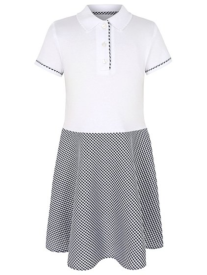 Girls Navy Gingham T Shirt School Dress School George