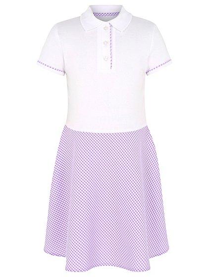 Girls Lilac Gingham T Shirt School Dress School George