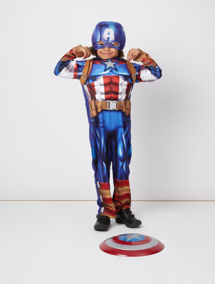 & Marvel Captain America Fancy Dress Costume | Kids | George
