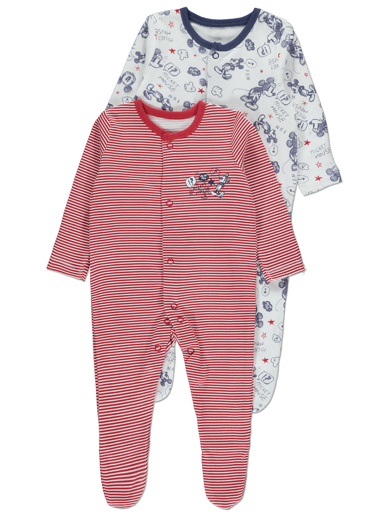 7b2b9d669 Disney Mickey Mouse 2 Pack Sleepsuits   Baby   George