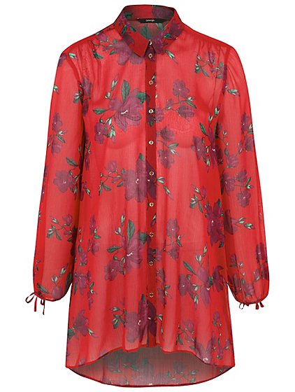 Floral tie back shirt women george for How to make a tie back shirt