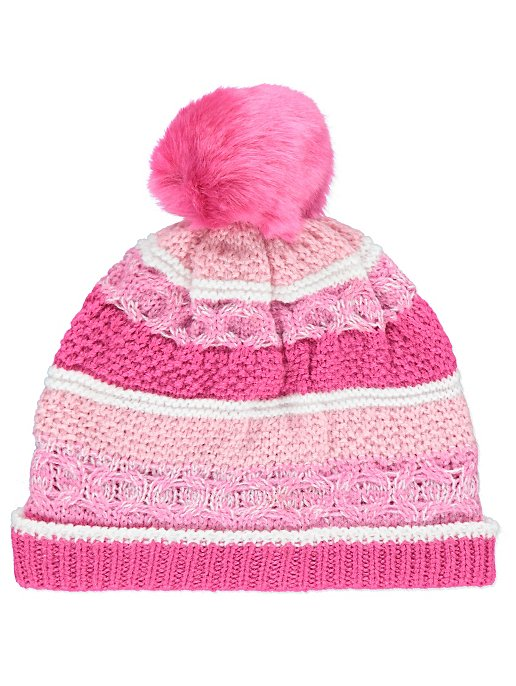 796c95f8c84 Fleece Lined Striped Knitted Bobble Hat. Reset