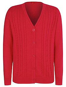 b1a9e832a4 Girls Red V-Neck School Cable Cardigan