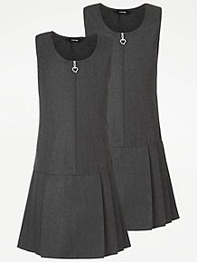 0982013175cc Girls Grey Drop Waist School Pinafore Dress 2 Pack