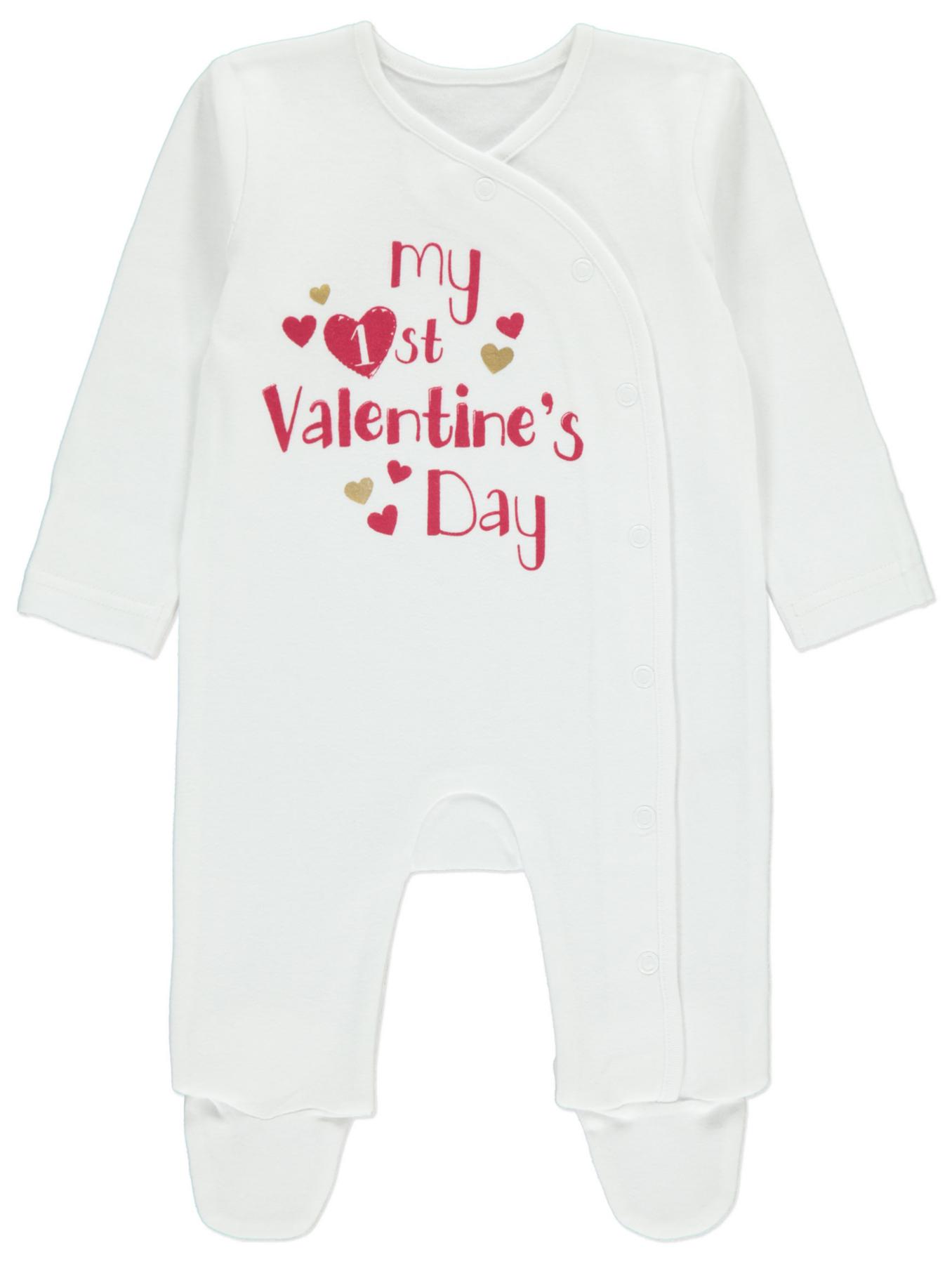 My First Valentine s Day Slogan Sleepsuit Baby
