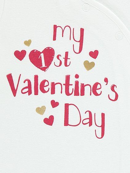 my first valentines day slogan sleepsuit - First Valentines Day