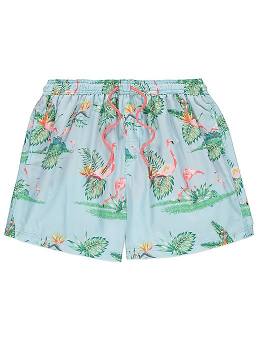 368f8deabc Light Blue Flamingo Print Swim Shorts | Men | George