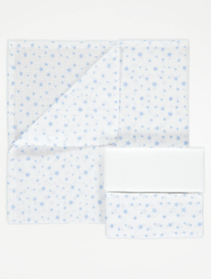 Blue Patterned Muslin Squares 3 Pack