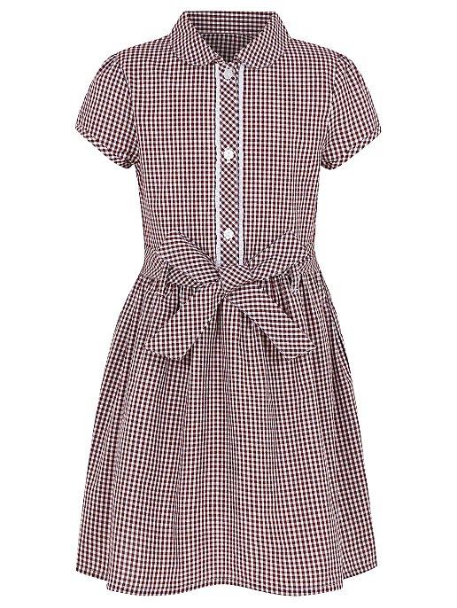 ce025eb0dd0 Girls Burgundy Gingham School Dress