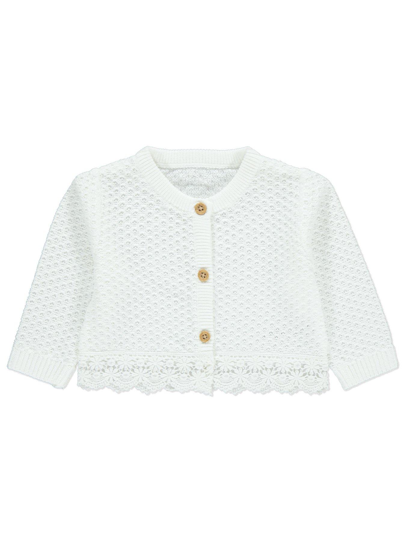 White Crochet Trim Cardigan Baby George