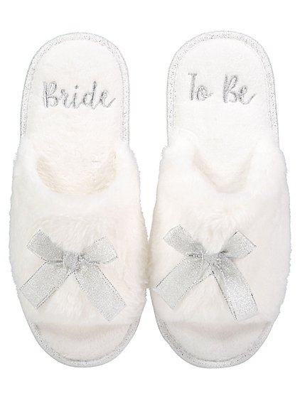 fluffy bride to be slippers women george. Black Bedroom Furniture Sets. Home Design Ideas