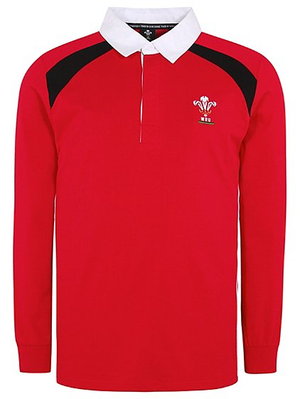 Official Wales Long Sleeve Rugby Polo Shirt Men George