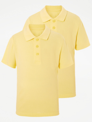 Yellow Slim Fit School Polo Shirt 2 Pack