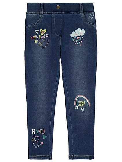 Embroidered detail jeggings kids george