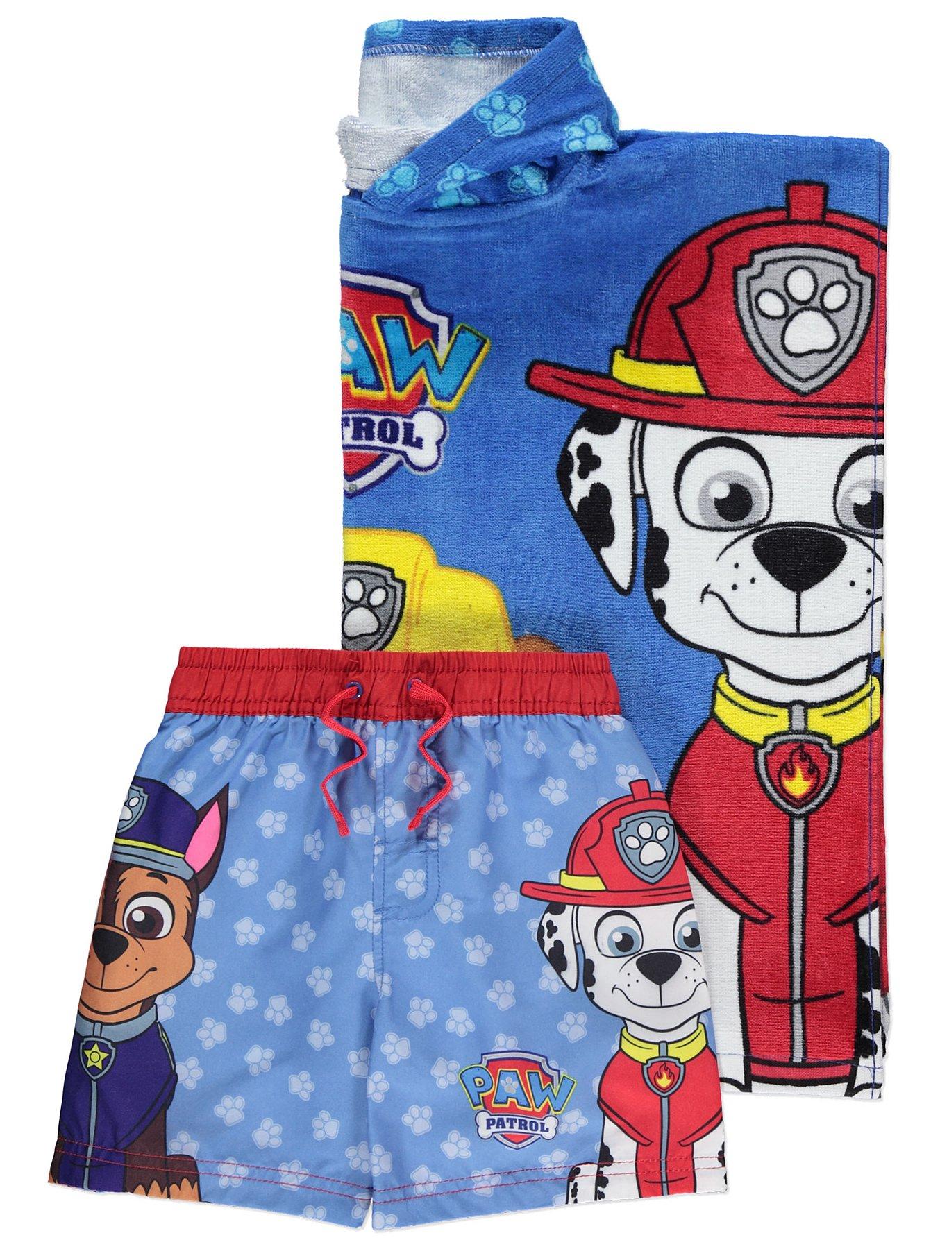 e2b31e65ab Blue PAW Patrol Hooded Towel Poncho and Swim Shorts Set | Kids | George
