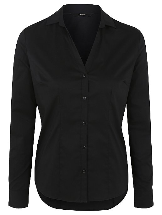 09da1d17c1c8 Black Long Sleeved V-Neck Formal Shirt   Women   George