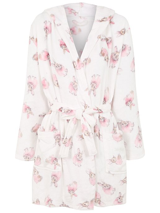 f3ef67f628 Rabbit Print Hooded Dressing Gown. Reset